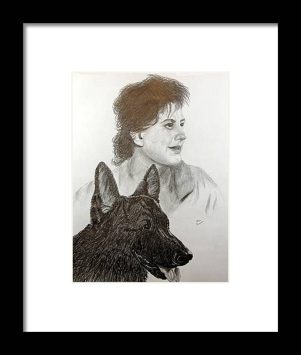 Pencil Framed Print featuring the drawing Kim and Saver by Stan Hamilton