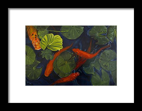 Painting Framed Print featuring the painting Koi Ballet by Peter Muzyka