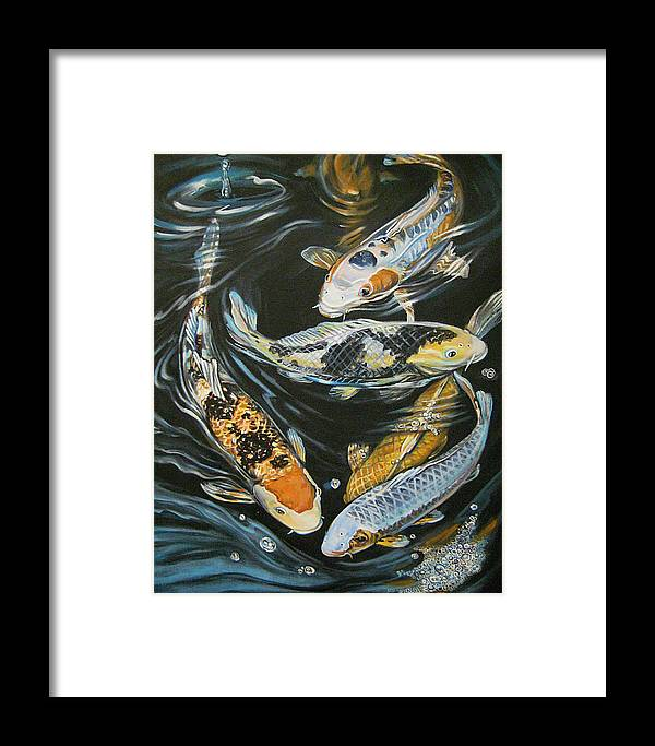 Fish Framed Print featuring the painting Koi Pond by Diann Baggett
