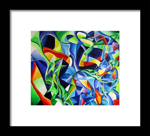 Claude Debussy Acrylic Abstract Pens Music Framed Print featuring the painting La Mer by Wolfgang Schweizer
