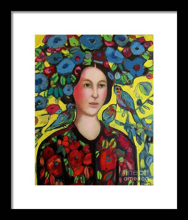 Marilene Sawaf Framed Print featuring the painting Lady and hat by Marilene Sawaf