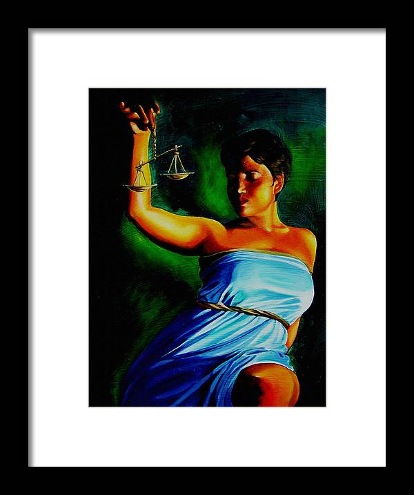 Law Art Framed Print featuring the painting Lady Justice by Laura Pierre-Louis