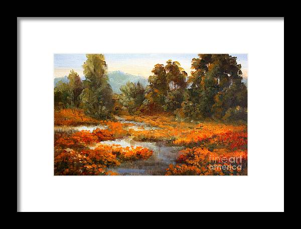 Landscape Framed Print featuring the painting Lake County Poppies by Gail Salitui