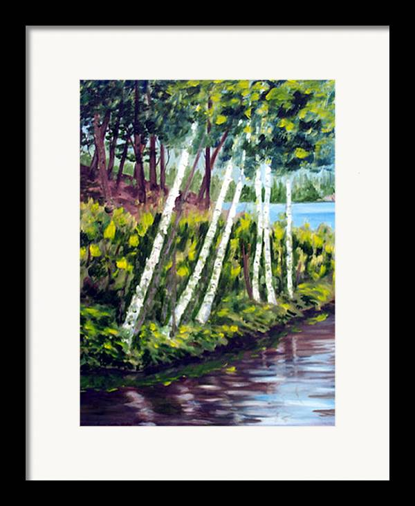 Landscape Framed Print featuring the print Lakeside Birches by Anne Trotter Hodge