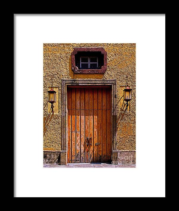 Tlaquepaque Framed Print featuring the photograph Lamps And Door by Mexicolors Art Photography