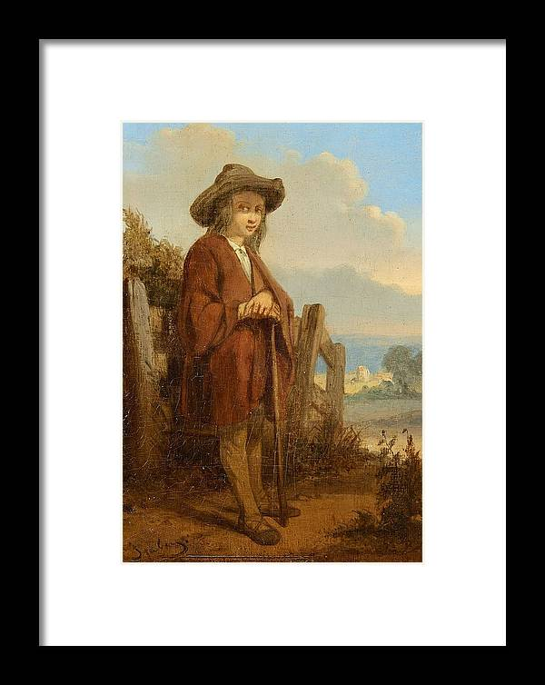 Eug�ne Isabey Framed Print featuring the painting Landscape With A Youth by MotionAge Designs