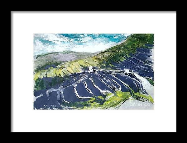 Lanzarote Framed Print featuring the painting Lanzarote Fields by Karina Plachetka