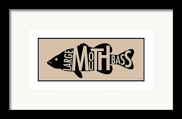 Largemouth Framed Print featuring the digital art Largemouth Bass by Geoff Strehlow
