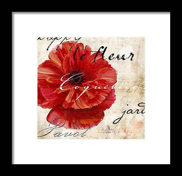 Poppy Framed Print featuring the painting Le Pavot by Mindy Sommers