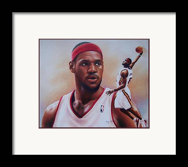 Lebron Framed Print featuring the drawing Lebron James by Cory McKee