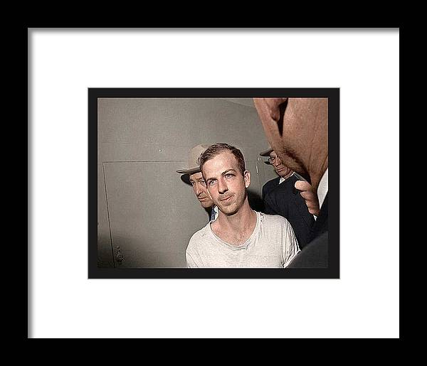 Lee Harvey Oswald Dallas Police Station Dallas Texas Unknown Photographer 1963 Framed Print featuring the photograph Lee Harvey Oswald Dallas Police Station Dallas Texas Unknown Photographer 1963 by David Lee Guss