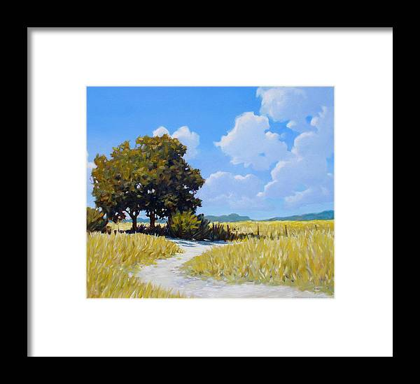 Landscape Framed Print featuring the painting Left Or Right by Kevin Lawrence Leveque