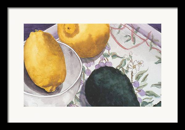 Still-life Framed Print featuring the painting Lemons And Avocado Still-life by Caron Sloan Zuger