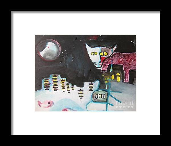 Cat Paintings Framed Print featuring the painting Let Me Out3 by Seon-Jeong Kim