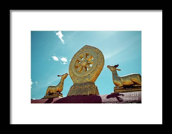 Tibet Framed Print featuring the photograph Lhasa Jokhang Temple Fragment Tibet by Raimond Klavins