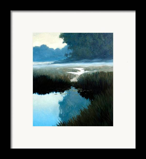 Landscape Framed Print featuring the painting Lifting Fog by Kevin Lawrence Leveque