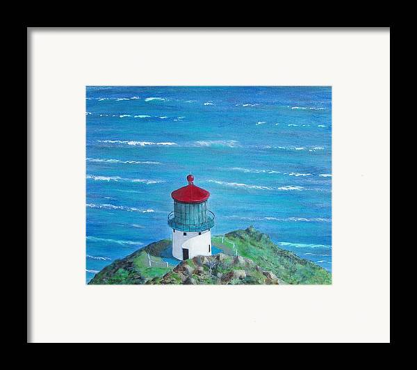Lighthouse Framed Print featuring the painting Lighthouse by Tony Rodriguez