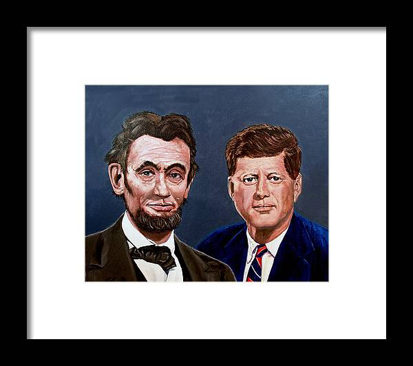 Lincoln Framed Print featuring the painting Lincoln And Kennedy by Stan Hamilton