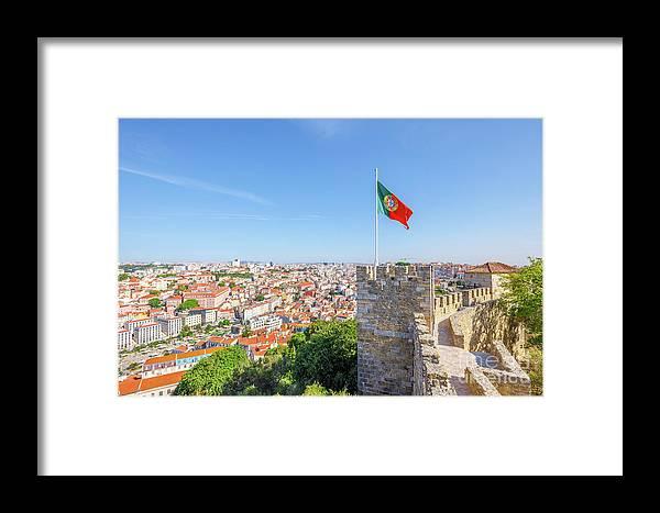 Lisbon Framed Print featuring the photograph Lisbon Castle Flag by Benny Marty