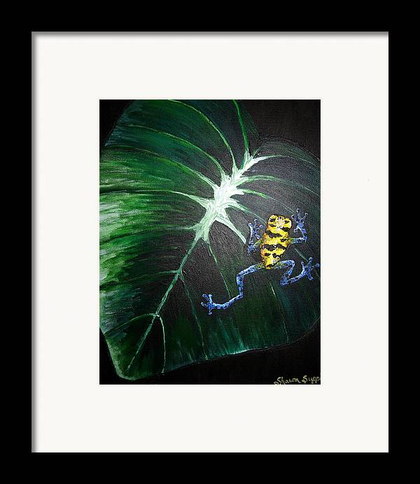 Poison Dart Frog Framed Print featuring the painting Little Frog In A Big World by Sharon Supplee