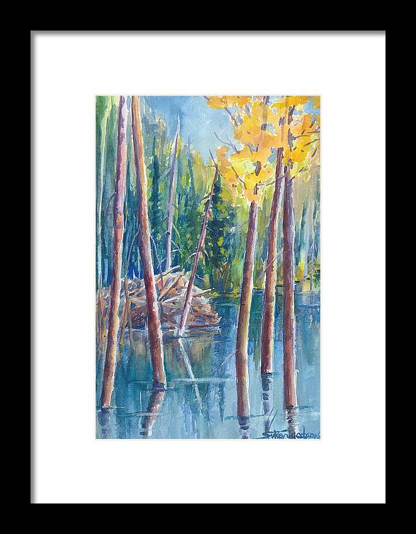 Beavers Framed Print featuring the painting Little Mountain Beaver Pond 04 by Sukey Watson