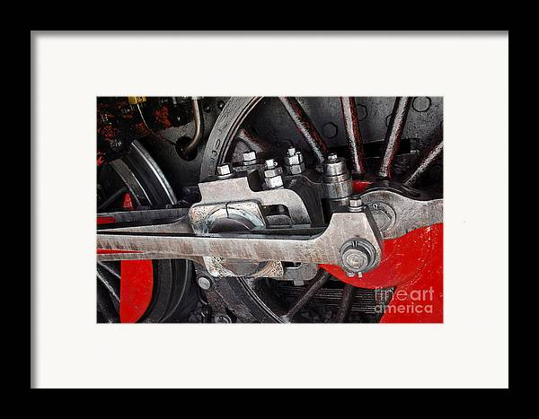 Antique Framed Print featuring the photograph Locomotive Wheel by Carlos Caetano