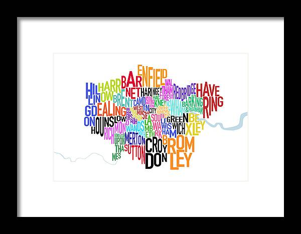 London Framed Print featuring the digital art London Uk Text Map by Michael Tompsett