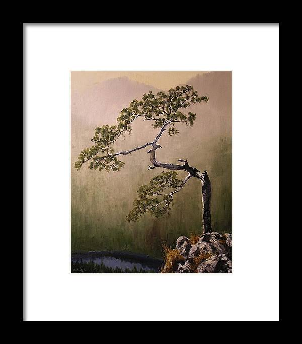 Tree Framed Print featuring the painting Lonesome Mountain Pine by Glenn Ledford
