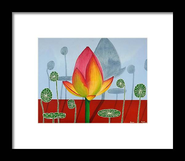 Lotus Framed Print featuring the painting Lotus by Adrian Ramos