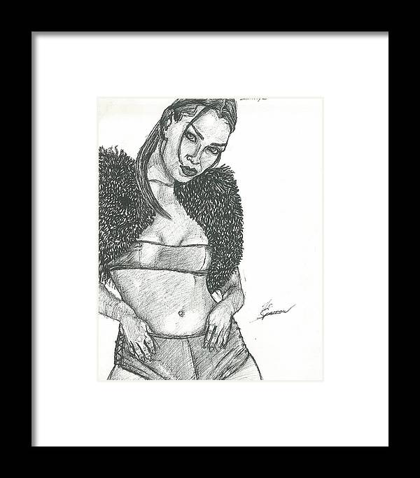 Framed Print featuring the drawing Lray by Norman Sparrow