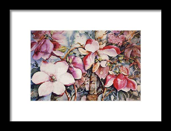 Red Magnolia Framed Print featuring the painting Magnolia by Marta Styk
