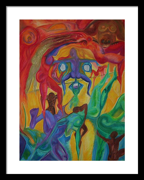 Mann In The Middle Framed Print featuring the pastel Mann I The Middle by Sitara Bruns