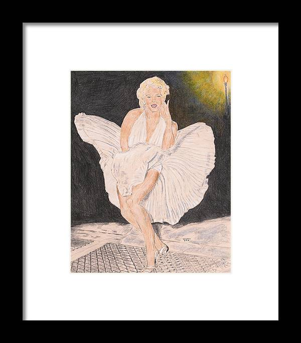 Marilyn Framed Print featuring the drawing Marilyn by Dennis Larson