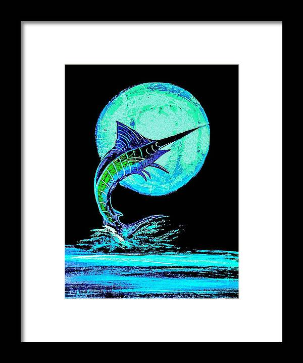 Blue Marlin Art Framed Print featuring the painting Marlin Moonlight by Barry Knauff