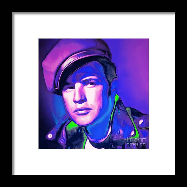 Marlon Brando Framed Print featuring the photograph Marlon Brando The Wild One 20160116 Square V2 by Wingsdomain Art and Photography