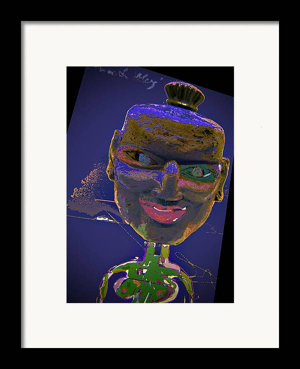 Portrait Framed Print featuring the mixed media Mask 16 by Noredin Morgan