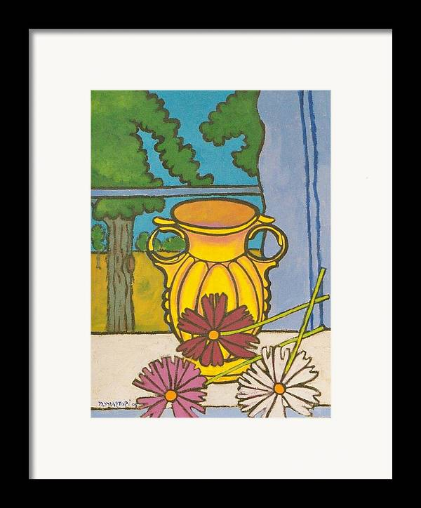 Mccoy Framed Print featuring the painting Mccoy Vase With Cosmos by Nicholas Martori