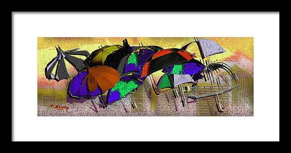 Rain Framed Print featuring the digital art Metro Rains by Tony Marquez