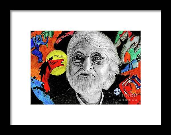 Mf Hussain Framed Print featuring the drawing Mf Hussain by Rishabh Ranjan