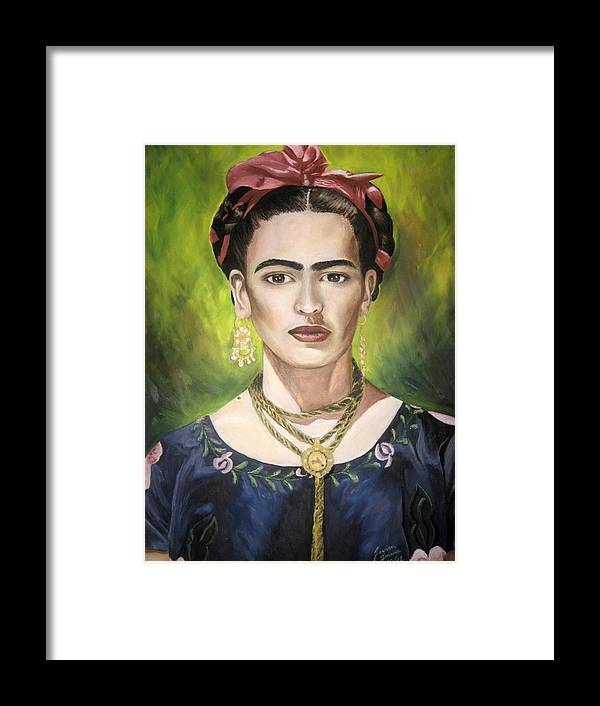 Frida Framed Print featuring the painting Mi Bella Frida by Jessica De la Torre