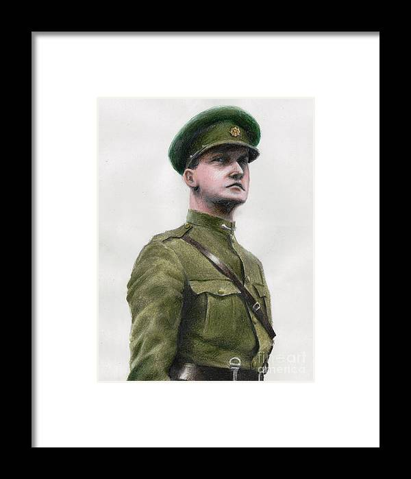 Michel Framed Print featuring the drawing Michael Collins by Bretislav Stejskal