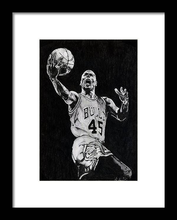 Michael Framed Print featuring the drawing Michael Jordan by Hari Mohan
