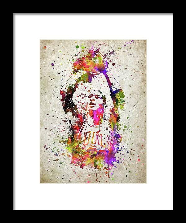 Michael Jordan In Color Framed Print by Aged Pixel