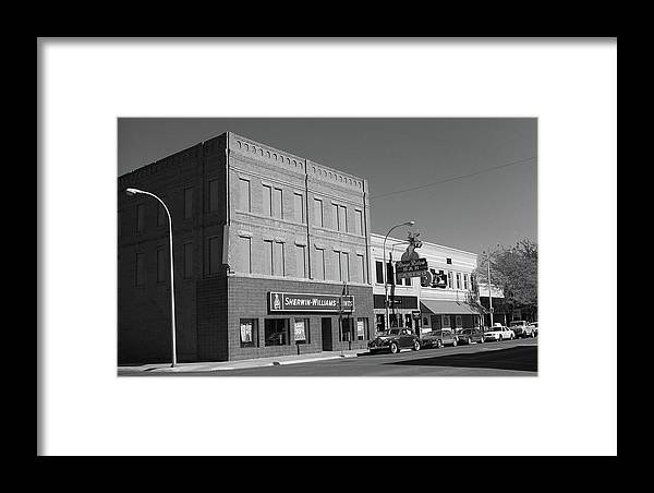 America Framed Print featuring the photograph Miles City, Montana - Downtown 2 Bw by Frank Romeo
