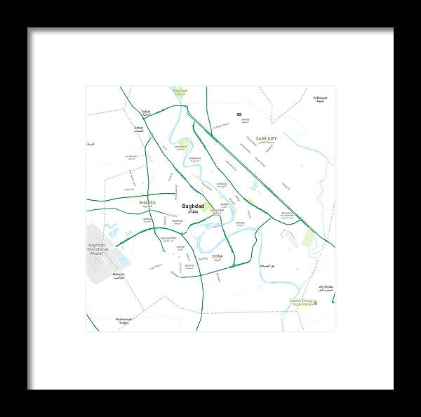 Vector Framed Print featuring the painting Minimalist Modern Map Of Baghdad, Iraq 5 by Celestial Images