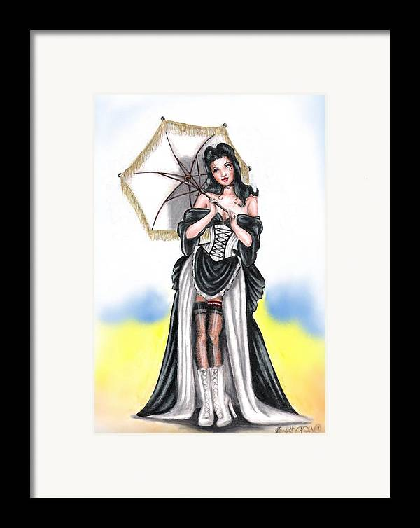 Pin-up Framed Print featuring the drawing Miss Flirt by Scarlett Royal