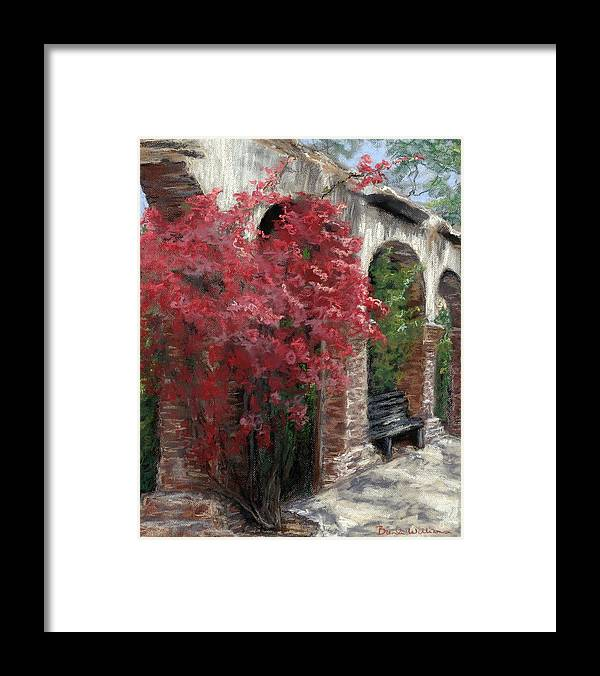 Mission Framed Print featuring the painting Mission Arches by Brenda Williams