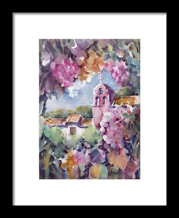 La Purisima Framed Print featuring the painting Mission Vineyard by Joan Jones