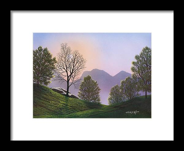 Landscape Framed Print featuring the painting Misty Spring Meadow by Frank Wilson