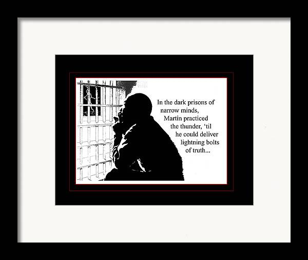 Martin Luther King Framed Print featuring the digital art Mlk In Jail by Richard Gordon